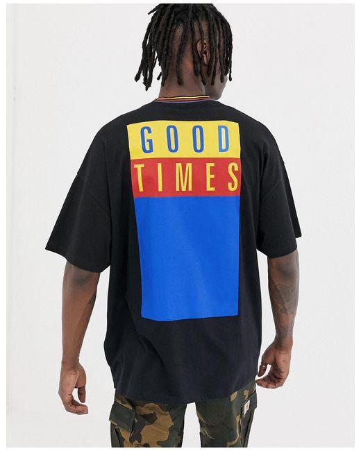Good times - T-shirt long oversize avec imprimé au dos et bordure contrastante rayée ASOS pour homme en coloris Black