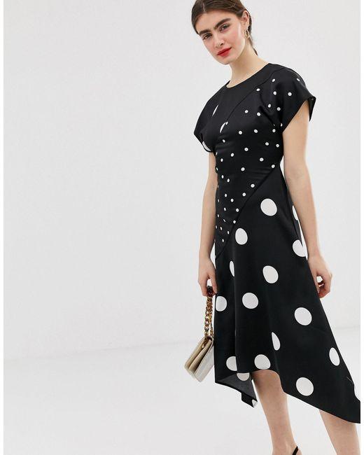 Платье Миди В Горошек С Асимметричным Подолом -черный Warehouse, цвет: Black