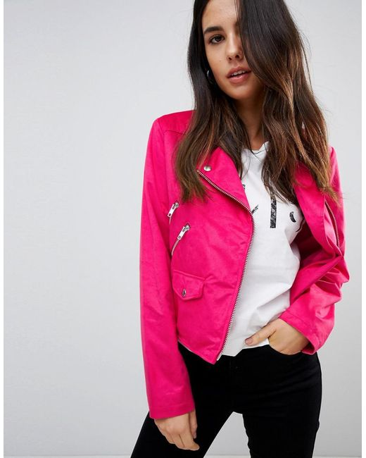 ASOS - Pink Asos Suedette Biker Jacket - Lyst