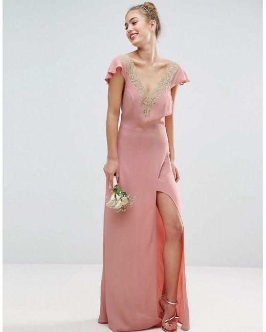 Simple Wedding Dresses Asos: Asos Design Bridesmaid Lace Applique Delicate Strap