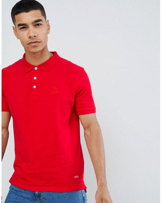 Pull&Bear - Join Life Polo In Red With Sunset Embroidery for Men - Lyst