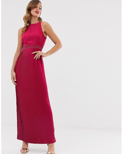 High Neck Pleated Maxi Dress
