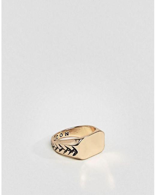 Icon Brand | Metallic Signet Ring In Gold for Men | Lyst