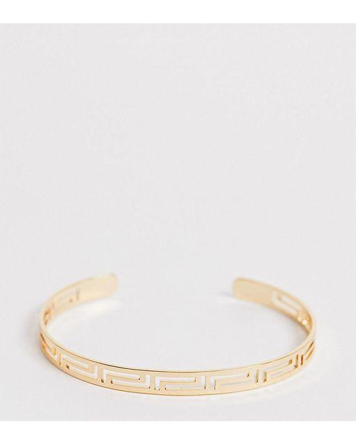 ASOS Metallic Asos Design Curve Cuff Bracelet In Cut Out Design In Gold Tone
