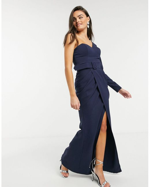 Темно-синее Платье Макси С Одним Рукавом И Поясом -темно-синий Forever Unique, цвет: Blue