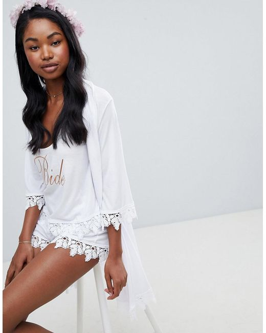 DESIGN bride vest and short pyjama with lace trim - White Asos 2018 Newest For Sale Hot Manchester Marketable JFy0p9wDU2
