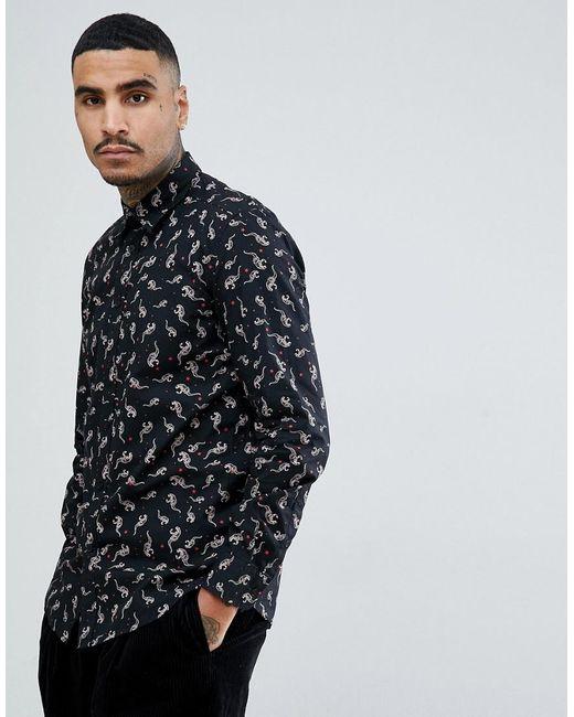 ed48ec014250 DIESEL - Black S-dinosaur All Over Print Shirt for Men - Lyst ...