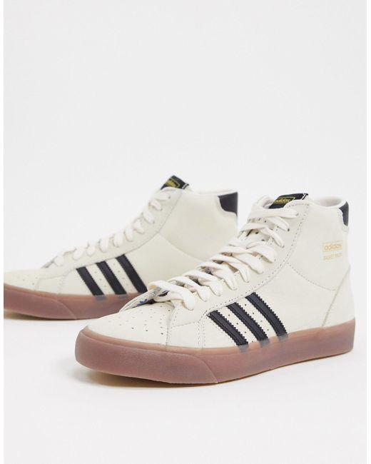 adidas Originals Zapatillas hi-top con suela de hombre de color blanco
