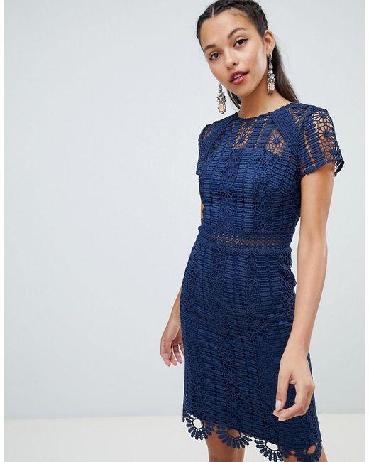 20e9c6a82f Chi Chi London - Blue Cap Sleeve Lace Pencil Dress - Lyst ...