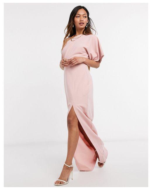 Vesper Pink On Shoulder Maxi Dress With Cut-out Detail And Side Split