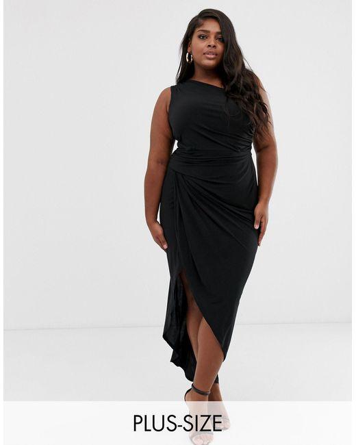 John Zack John Zack - Plus - Asymmetrische Midi-jurk Met Blote Schouder En Dijsplit in het Black