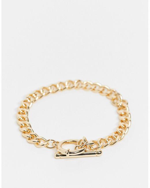 Золотистый Браслет-цепочка С Т-образной Застежкой Accessorize, цвет: Metallic