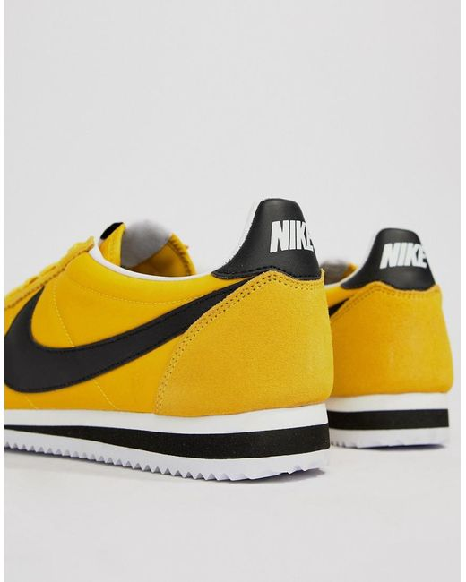 new products f3e66 d41e9 ... low price nike classic cortez nylon sneakers in yellow 807472 701 for  men lyst c5ad7 8b92a