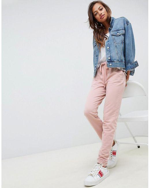 ASOS - Pink Pantalon de jogging avec ourlet resserr aux chevilles et perles  - Lyst ... 14ea72c9942
