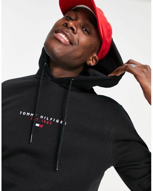 Худи Черного Цвета С Логотипом-флажком На Груди -черный Цвет Tommy Hilfiger для него, цвет: Black