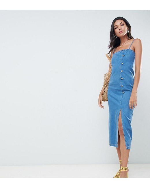 ASOS - Asos Design Tall Denim Button Side Midi Dress In Midwash Blue - Lyst
