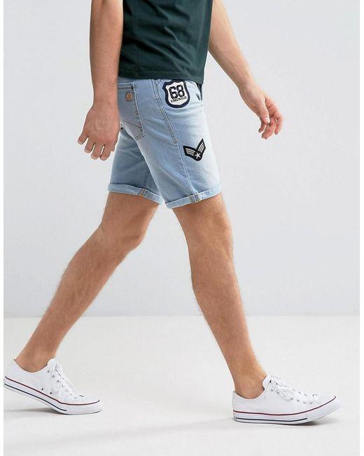 Blend | Blue Denim Badge Short for Men | Lyst