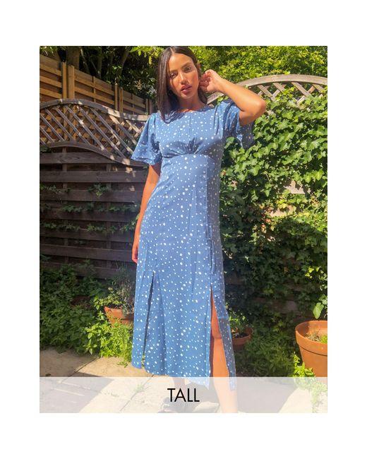 Синее Платье Миди С Пышными Рукавами -голубой Missguided, цвет: Blue