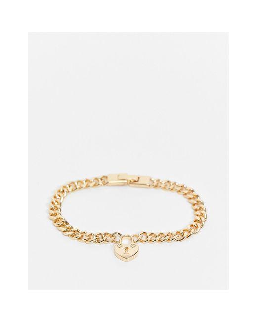 Золотистый Браслет-цепочка С Подвеской В Виде Замка-сердечка Pieces, цвет: Metallic