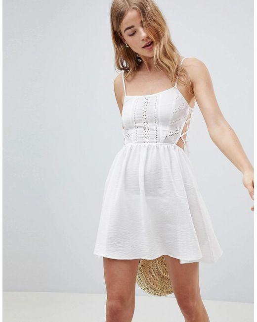 66e0ff1871c1 ASOS - White Broderie Tie Side Beach Dress - Lyst ...
