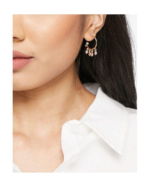 Золотистые Серьги-кольца С Розовыми Камнями-подвесками ASOS, цвет: Metallic