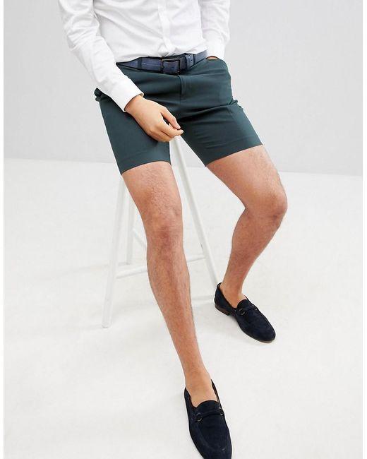 ASOS - Design Slim Mid Length Smart Shorts In Forest Green for Men - Lyst