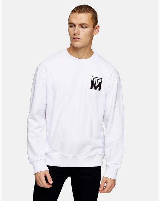 Topman White Monogram Embroidered Sweatshirt for men