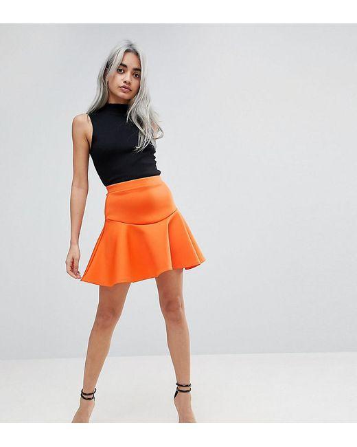 ASOS - Orange Scuba Mini Skirt With Frill - Lyst