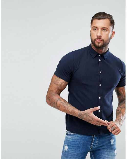 BoohooMAN - Blue Regular Fit Shirt With Short Sleeves In Navy for Men - Lyst