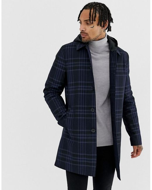 ASOS - Blue Trench Coat In Navy Check With Removable Hood for Men - Lyst