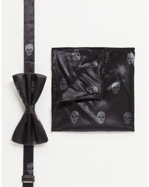 Nœud papillon et pochette à imprimé tête Bolongaro Trevor pour homme en coloris Black