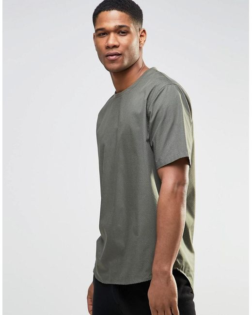 ASOS   Green Perforated Woven Tee In Khaki for Men   Lyst