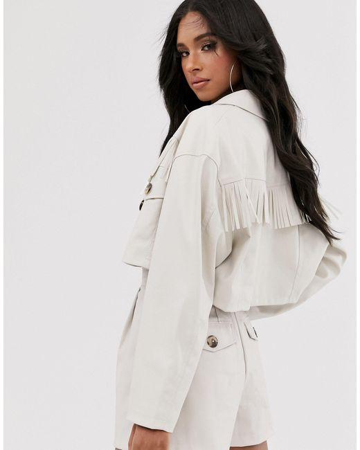 Короткий Пиджак Из Искусственной Кожи С Бахромой В Стиле Вестерн ASOS, цвет: Multicolor
