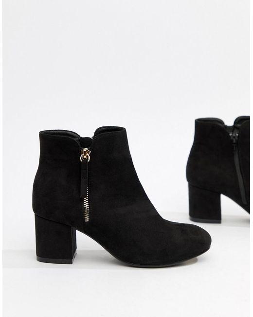 Office Black Side Zip Kitten Heel Boots