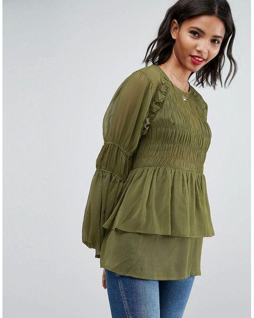 ASOS - Green Sheer Crinkle Blouse With Poets Sleeve - Lyst