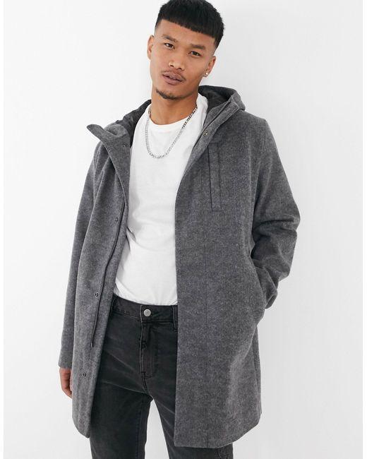 Серое Пальто С Капюшоном Originals-серый Jack & Jones для него, цвет: Gray