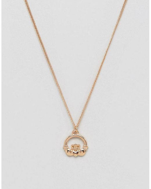 ASOS - Metallic Design Necklace In Gold With Claddagh Pendant for Men - Lyst