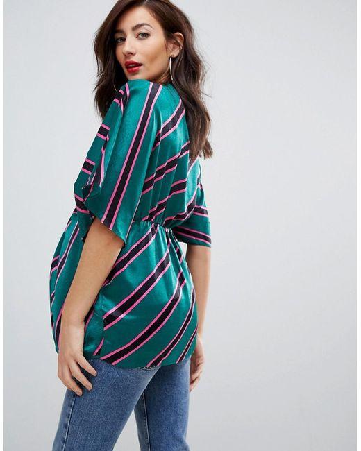 e454907193 ... ASOS - Blue Asos Design Maternity Satin Twist Front Top With Kimono  Sleeve In Stripe -