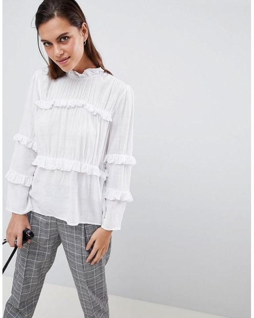 Y.A.S - White Tiered High Neck Blouse - Lyst