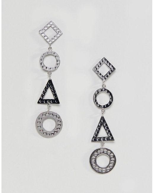 ASOS DESIGN - Metallic Hammered Geo Shape Strand Earrings - Lyst
