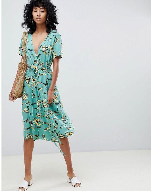 Ichi Green Floral Wrap Dress