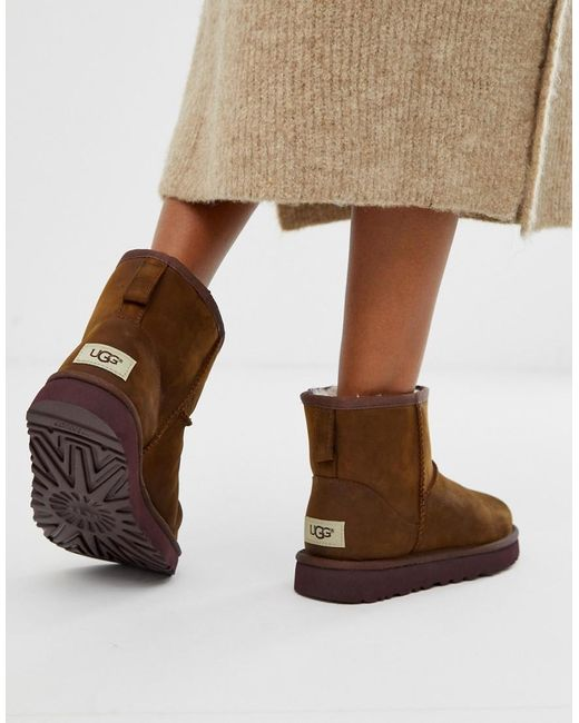 Классические Кожаные Ботинки Ugg, цвет: Brown