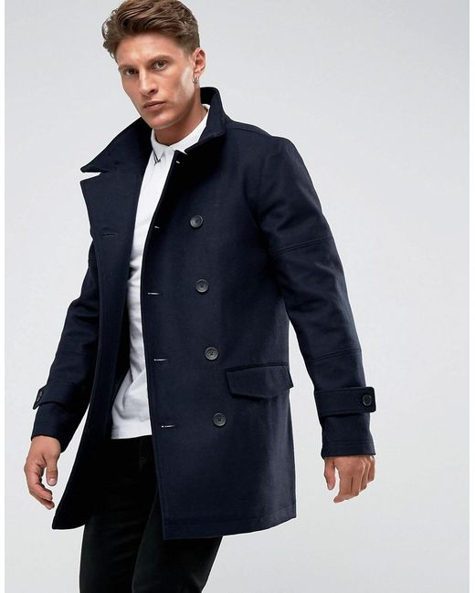 French Connection | Black Funnel Coat for Men | Lyst