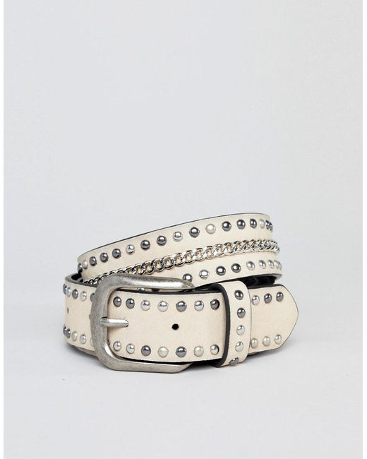 Distressed Studded Belt - Beige New Look dw74A