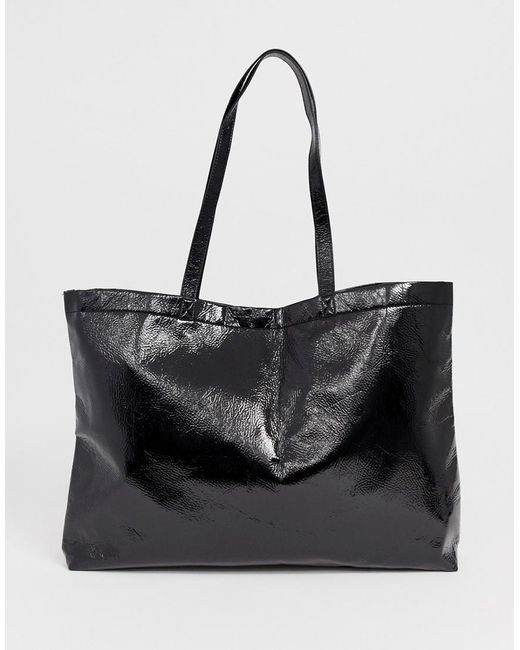 cdcf82a73a Monki - Black Pu Tote Bag - Lyst ...