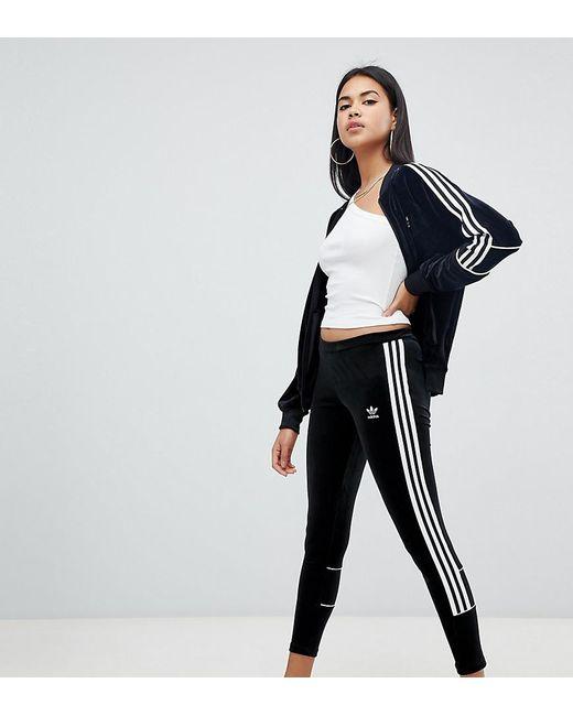 how to buy uk cheap sale cheapest Three Stripe Leggings In Black Velvet