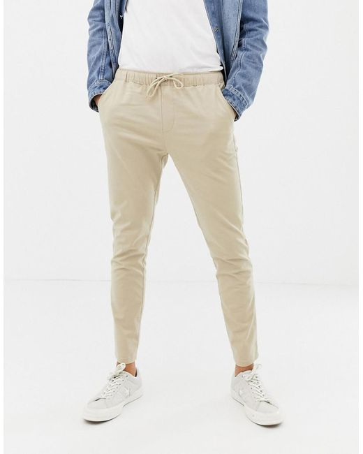 2fb140923f8c86 ASOS - Natural Skinny Chinos In Putty With Elastic Waist for Men - Lyst ...