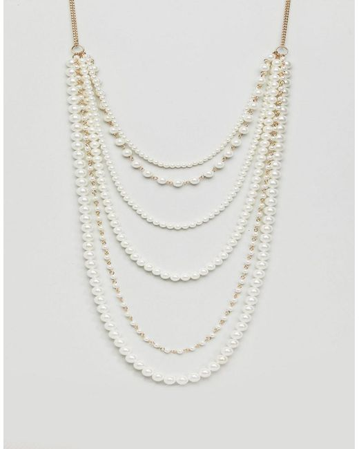 Monki | Multicolor Layered Pearl Necklace | Lyst