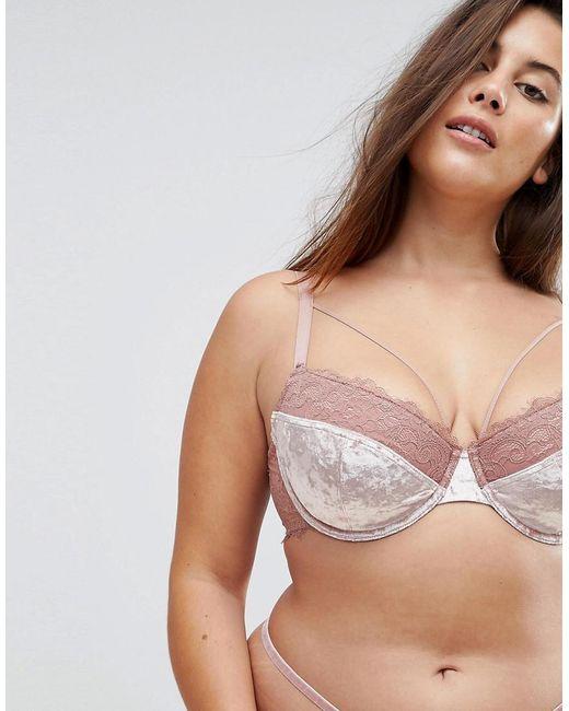 Asos Vedette Velvet & Lace Padded Bra in Pink