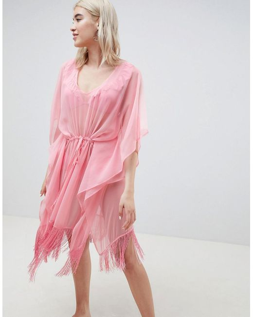 Pieces - Pink Beach Caftan With Fringing - Lyst